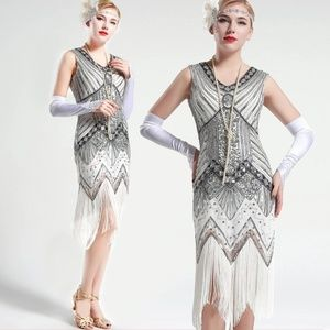 White and Silver glass beaded Fringe Flapper Dress